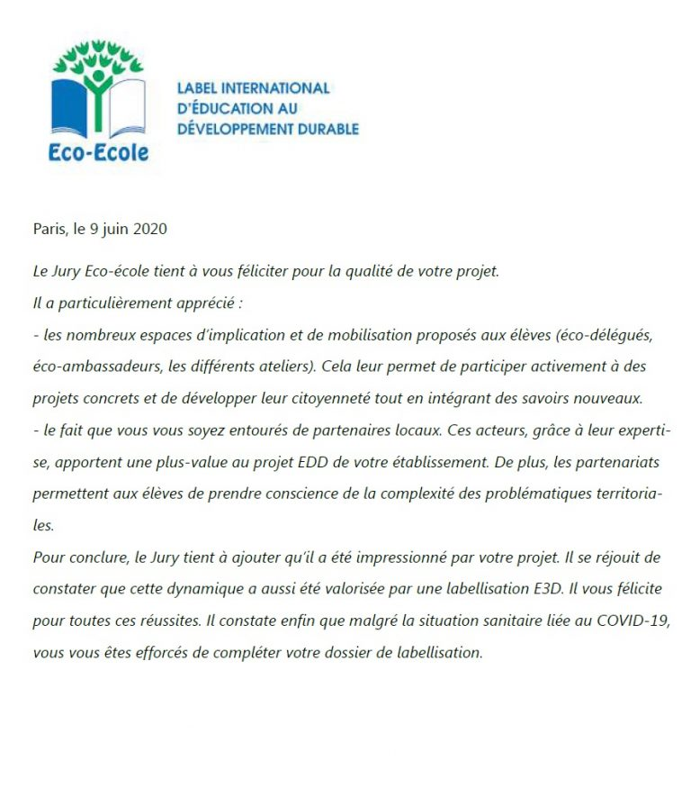 Read more about the article Obtention du Label international Eco-Collège